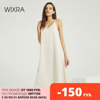 Wixra Sexy Strap Backless Satin Dress Loose Dresses Spring Summer New Sleeveless Basic Solid Womens Clothing 1