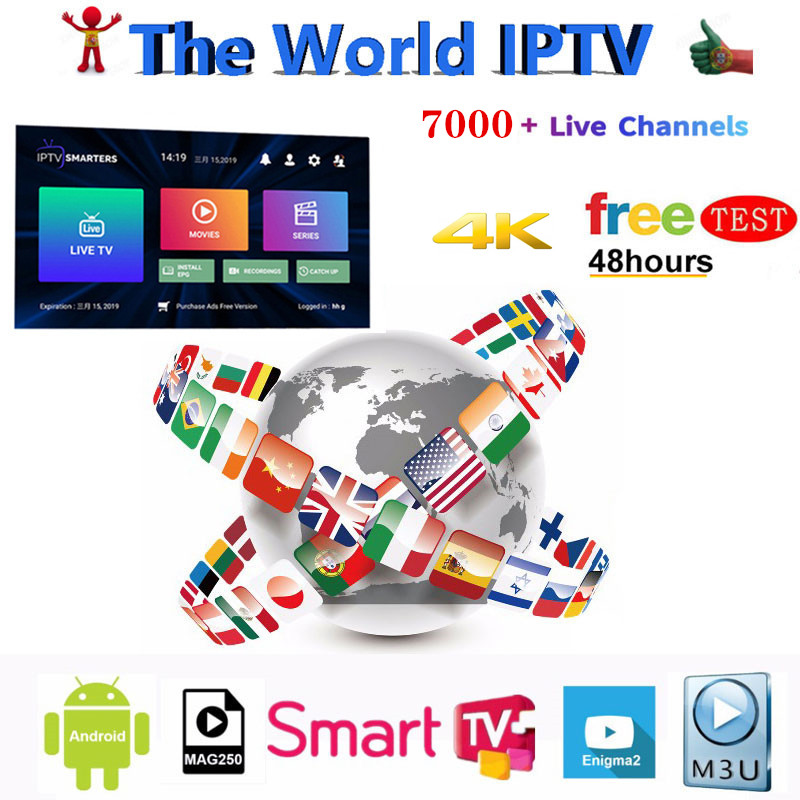 HD World IPTV +7000 Live 6000 VOD 4K HD Channel Best For Europe Arabic Asian Africa Latino America Global IPTV Subscription