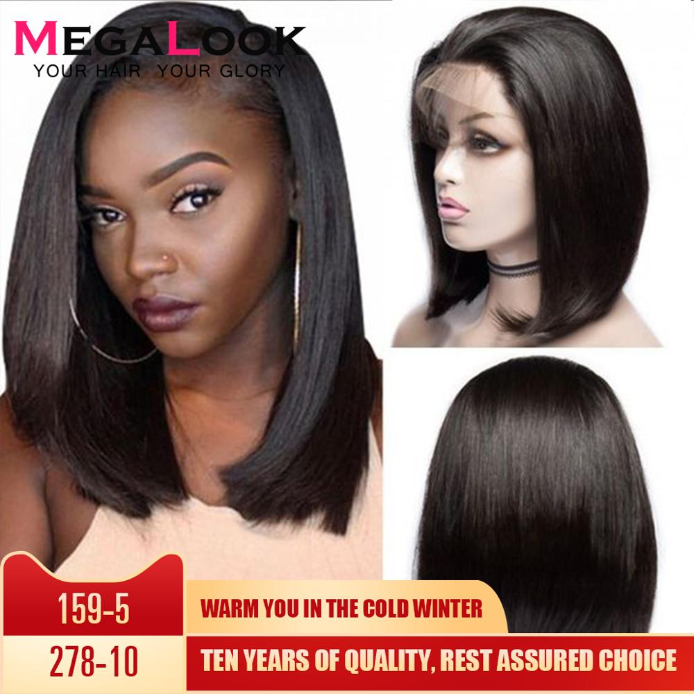 Bob Wigs Short Bob Lace Front Human Hair Wigs For Black Women 180% Straight Lace Front Human Hair Wigs Remy Megalook Hair 13x4
