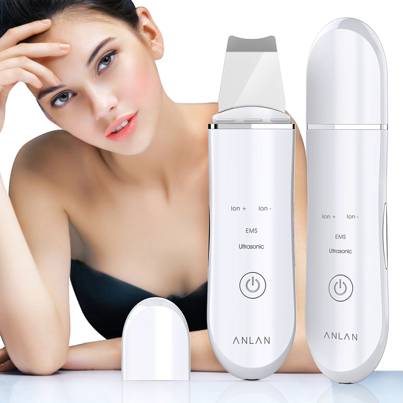 ANLAN Ultrasonic Skin Scrubber Face Cleanser Blackhead Acne Removal Facial Spa Vibration Massager Ultrasound Water Peeling Tools