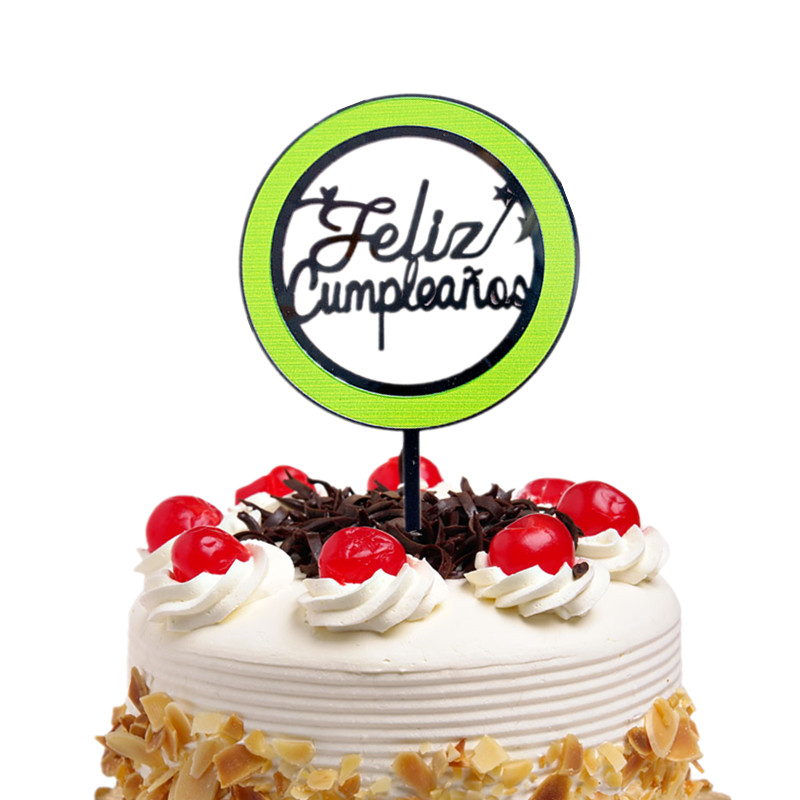 Cake Toppers Spainish Feliz Cumpleanos Happy Birthday Acrylic Cupcake Cake Topper Flags Baby Shower Decor Cake Baking DIY Party-3