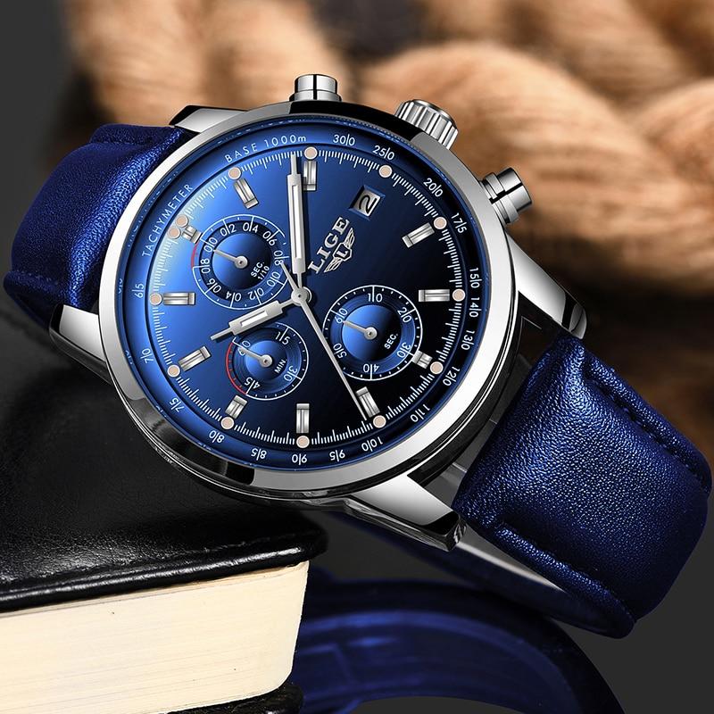 2019 LIGE nouvelle mode hommes montres analogique Quartz montres 30M étanche chronographe sport Date en cuir montres Montre Homme 1