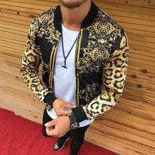 Sprin Autumn Thin Men's Fashion Zipper Clothing Print Casual Luxury Gold Bomber Pattern Slim Fit Men Jackets Harajuku Streetwear