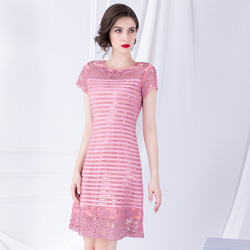 Exquisite sequined embroidered dress 2019 early autumn new short sleeve stitching  A ladies dresses