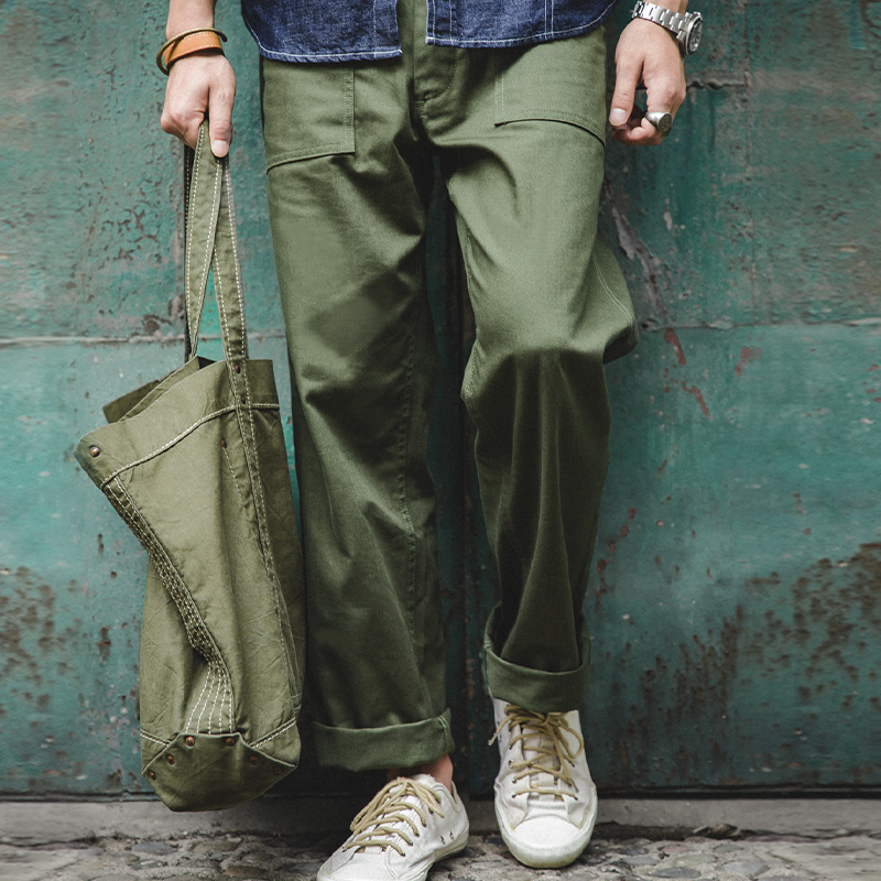 Maden Men's Army Green Retro Army Pants Overalls Rectangular Straight Casual Pants Men
