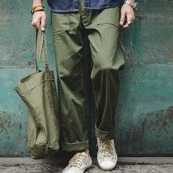 Мужские брюки в стиле ретро Maden, повседневные прямоугольные прямые брюки в армейском стиле зеленого цвета
