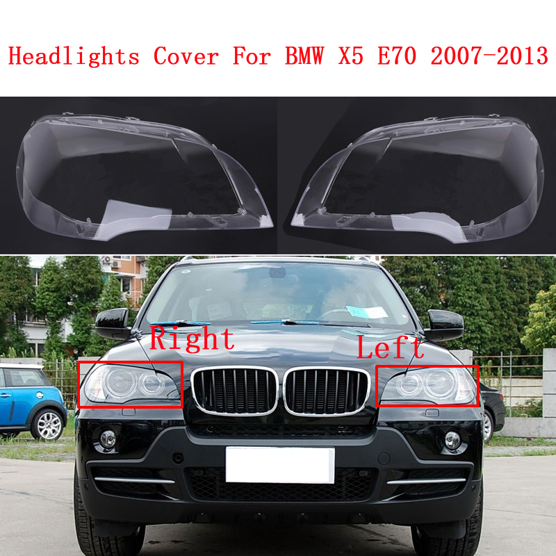Faros delanteros de coche, faros de cristal, pantallas transparentes, máscaras de lámpara, cubierta de faro E70, lentes para BMW X5 E70 2007-2013