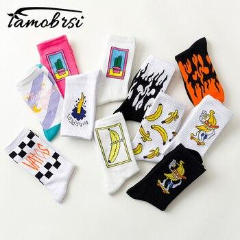 Korean style Fashion Harajuku Street hip hop Cartoon socks unisex Funny Banana Men Socks happy skateboard flame Women socks unisex flame black white yellow fire sokken novelty dress socks harajuku socks skateboard calceines mujer street skarpetki socks