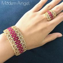 ModemAngel Luxury Special Convolution Mixed Cubic Zirconia Copper Geometry Party Wedding Saudi Arabic Dubai BANGLE RING Set
