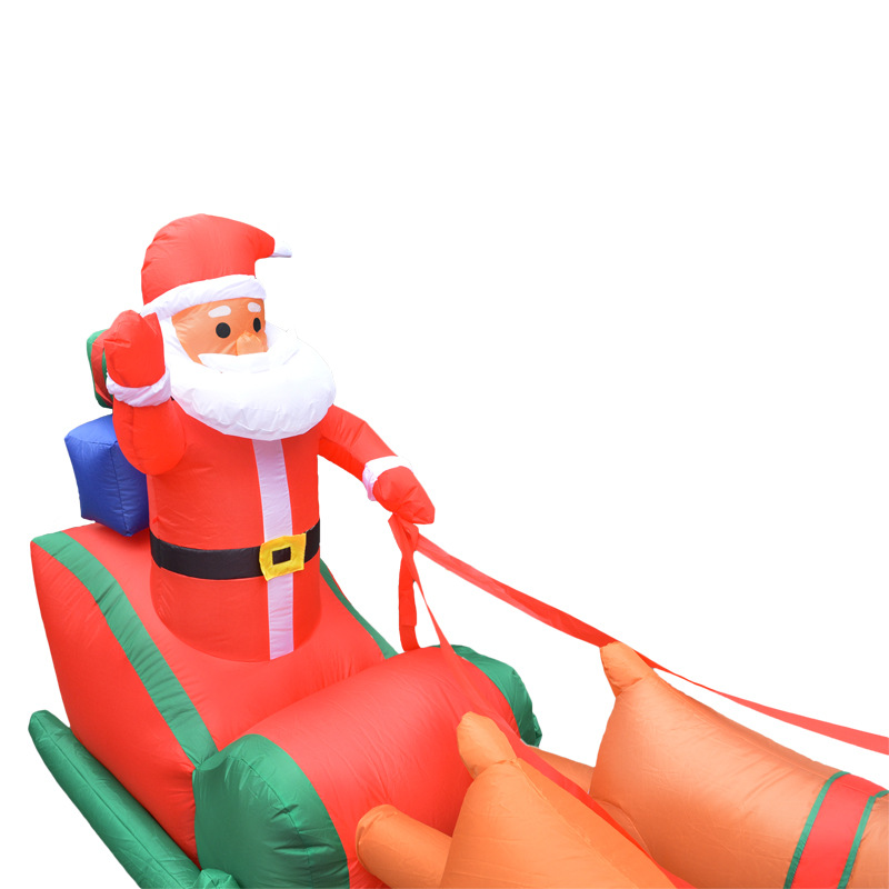 Navidad Santa claus carrito inflable de trineo de renos Castillo inflado de trineo de ciervos para niños regalos de navidad accesorios de fiesta de navidad - 6