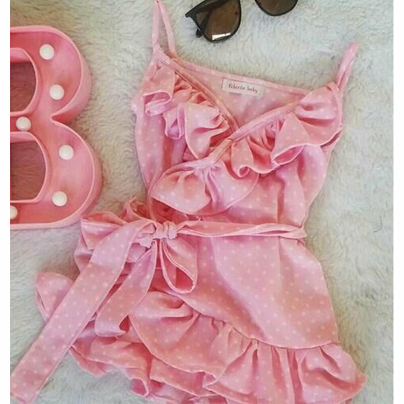 Infant Baby Girl Kid Clothes Sling Lace Up Polka Dot Dress Summer Outfit