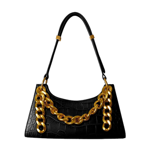 Women Leather Handbags Luxury Brand Crossbody Totes 2020 New Fashion Alligator Big Chain Baguette Lady's Shoulder Messenger Bags(China)