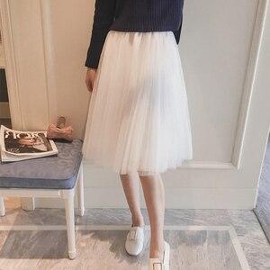 Image 3 - TIGENA Midi Pleated Tulle Skirt Women 2020 Summer A line High Waist Knee Length Tutu Skirt Female School Sun tiulowa spodnica