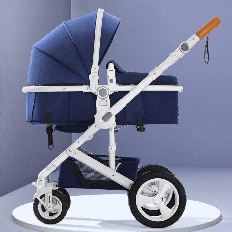 Cochecito de bebé belecoo cochecito de paisaje alto puede sentarse reclinable luz plegable de dos vías absorción de golpes de cuatro ruedas