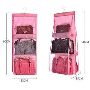 6 Pocket Hanging Bag Organizer Wardrobe Transparent Storage Bag for Handbag Closet Shoes Organizer Door Wall Clear Sundry Pouch