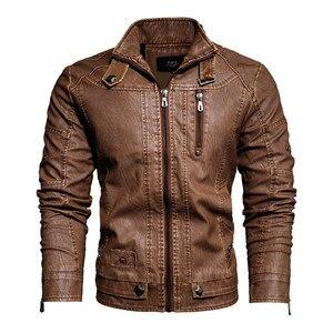 Image 3 - Veste en cuir PU hommes noir hiver automne mode manteaux hommes Style de rue col montant moto Bomber homme cuir pardessus
