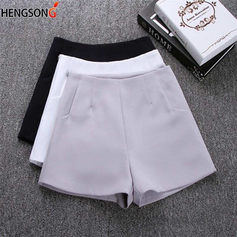 Summer Women Sports Shorts 2018 New Female Tennis Shorts Pockets Zipper Solid High Waist Sporting Shorts