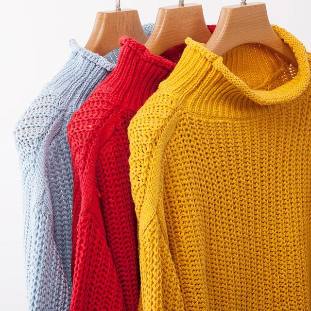Women's Warm Knitted Solid Color Lantern Sleeves Sweater