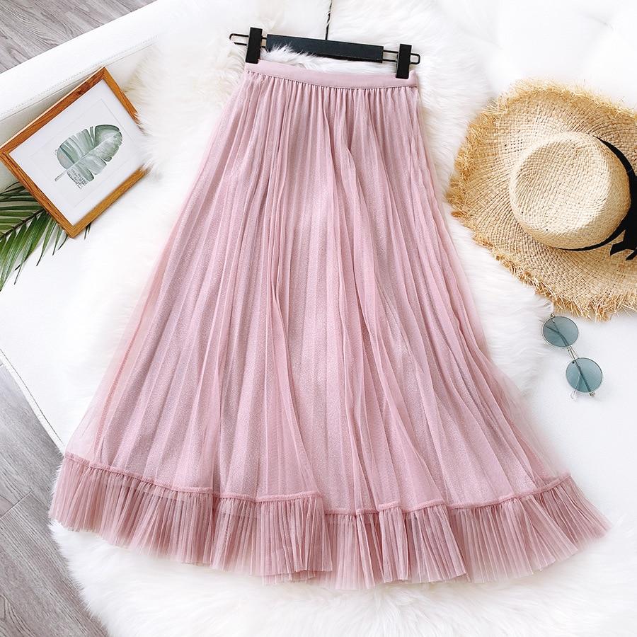 2020 New Summer Women Pink Long Skirt Vintage Boho Women High Waist Mesh Long Skirt Faldas Jupe Femme Saia