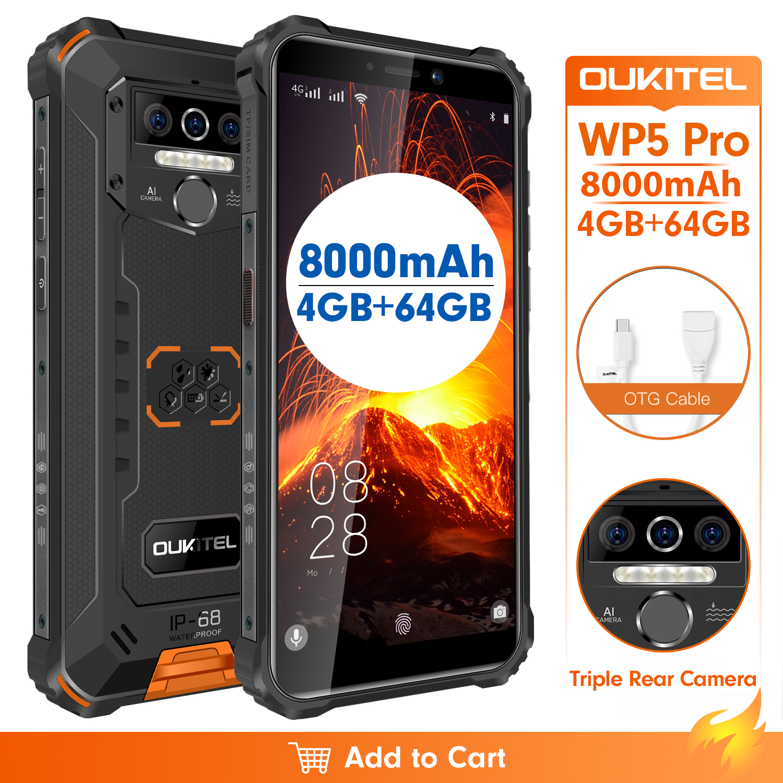 Водонепроницаемый Смартфон OUKITEL WP5 Pro, IP68, 8000 мАч, Android 10, тройная камера, распознавание лица/отпечатков пальцев, 5,5 дюйма, 4 Гб 64 ГБ, мобильный те...
