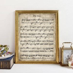 Fur Elise Vintage Sheet Music Poster Beethoven Classical Piano Music Print Christmas Song Decoration Canvas Painting Picture