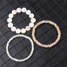 Natural White Freshwater Mother Of Pealrs Bracelet For Men Irregular Shell Beads Bracelet Women Handmade Elastic Pulsera Jewelry