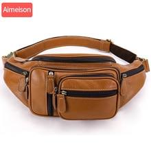 Aimeison riñonera Cinturón de piel auténtica para hombre, Bolso pequeño de viaje para la cintura, de cuero