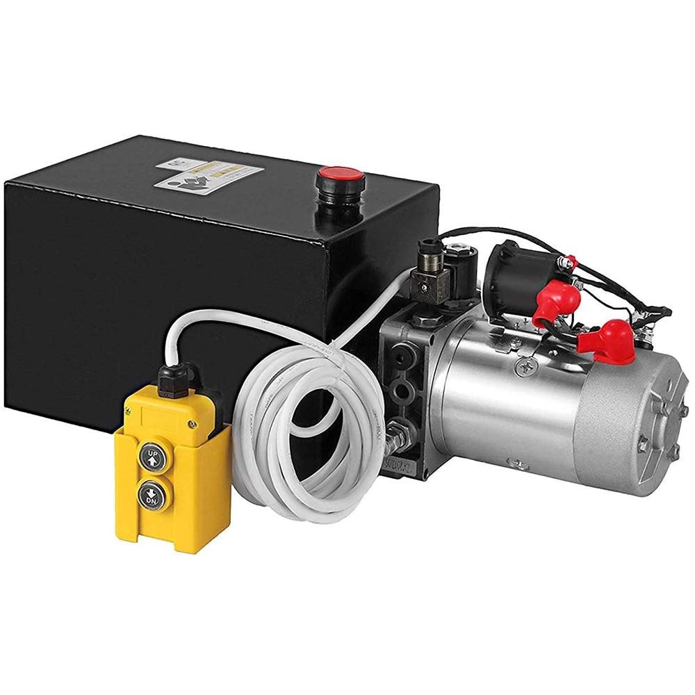 Hüdrauliline jõuallikas 8L Pump kahekordse toimega hüdrauliline võimsus 12 V metallreservuaar Hüdropumba jõuallikas kallurhaagis