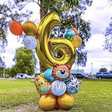 2021 novo 30 polegada aniversário número da folha balão selva animal zoológico tema balões definir crianças festa de aniversário do chuveiro do bebê decoração suprimentos