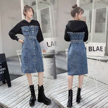 Denim Splice Women Dress Long Sleeve Autumn Casual Fashion Streetwear Tether New Hooded Ladies Dresses