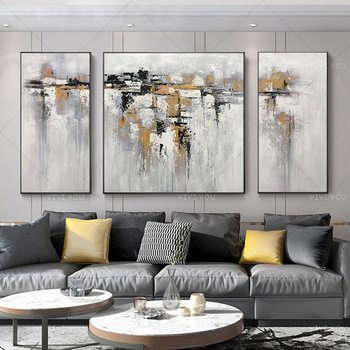 New Golden And Gray Abstract Oil Painting on Canvas Acrylic Wall Handpainted Home Quadros Decoracion for Living Room Gifts