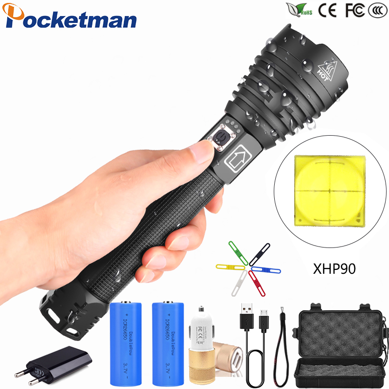 XHP90 XLamp XHP70.2 Most Powerful LED Flashlight USB Rechargeable Tactical Light 18650 26650 Zoom Torch Camping Hunting Lamp S52