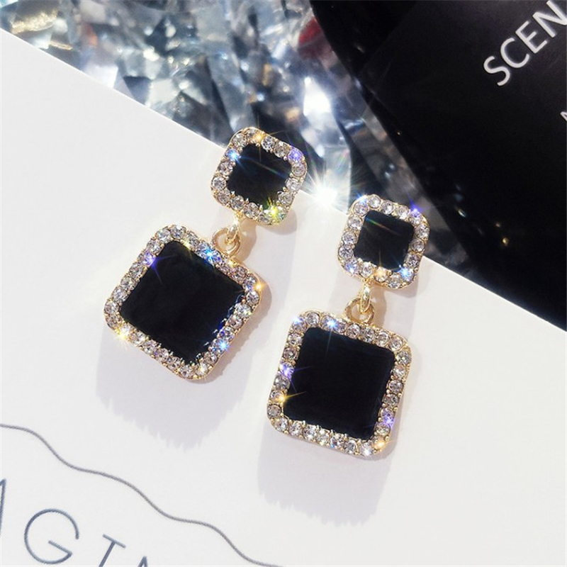 Statement Earrings 2019 Black Square Geometric Earrings For Women Luxury Crystal Wedding Rhinestones Earring Gold Color