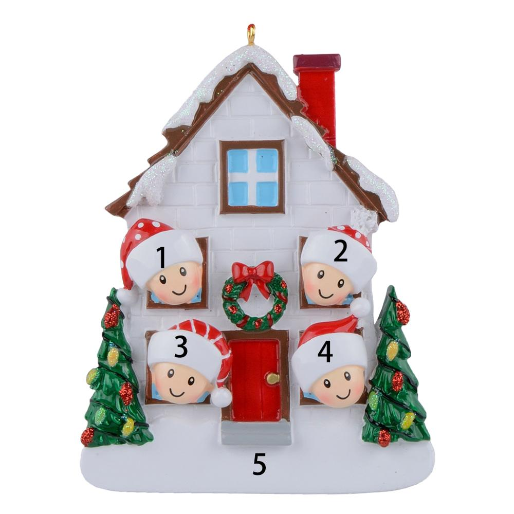 Maxora Resin Gloss Christmas House of 4 Personalized Christmas Tree Ornaments in Figurines Miniatures from Home Garden