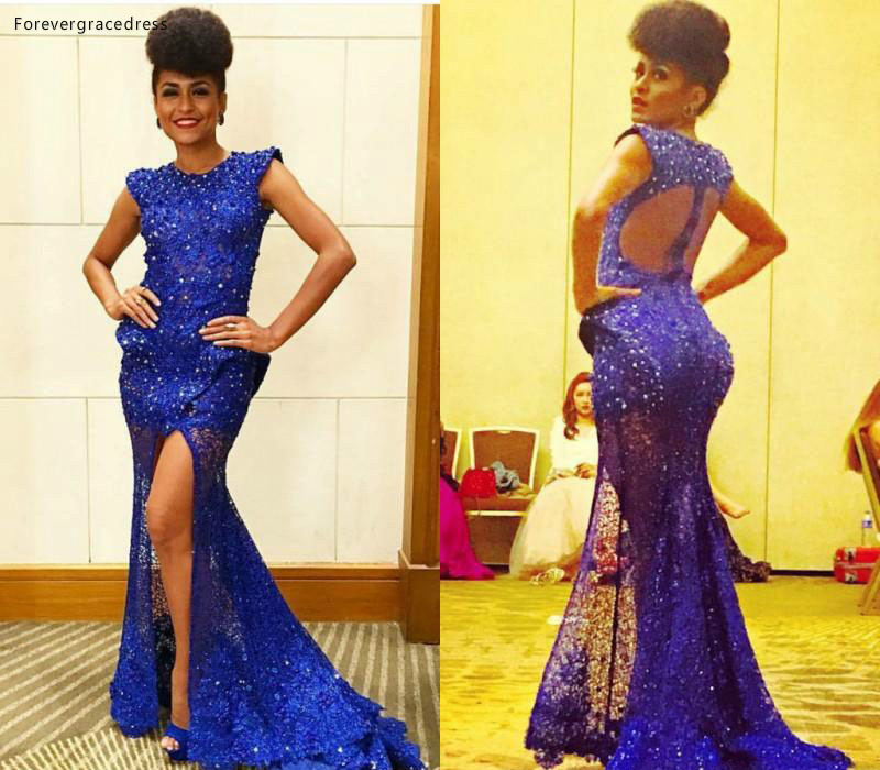 2019 Cheap Jewel Neck   Prom     Dress   Arabic Mermaid Backless Split Formal Holiday Wear Party Gown Custom Made Plus Size