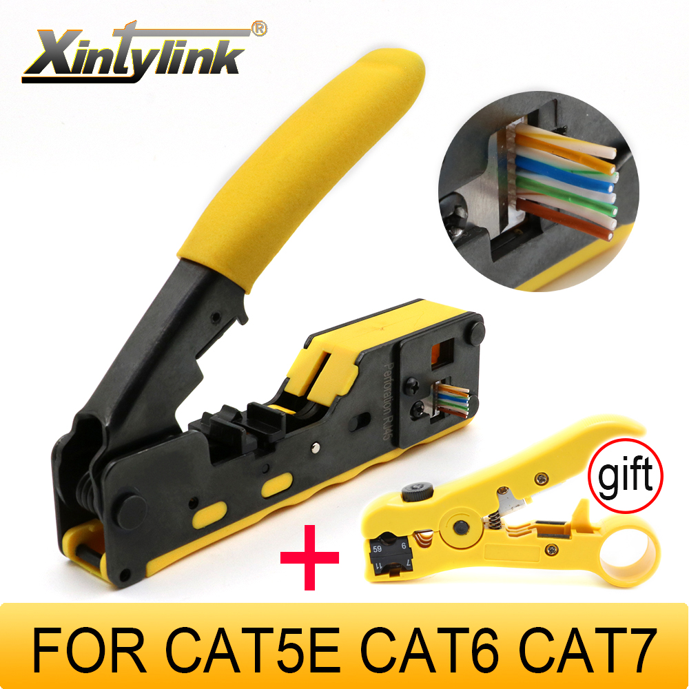 Xintylink EZ Rj45 Pliers Crimper Cat5 Cat6 Cat7 Network Tool Rg Rj 45 Ethernet Cable Stripper Pressing Clamp Tongs Clip Rg45 Lan
