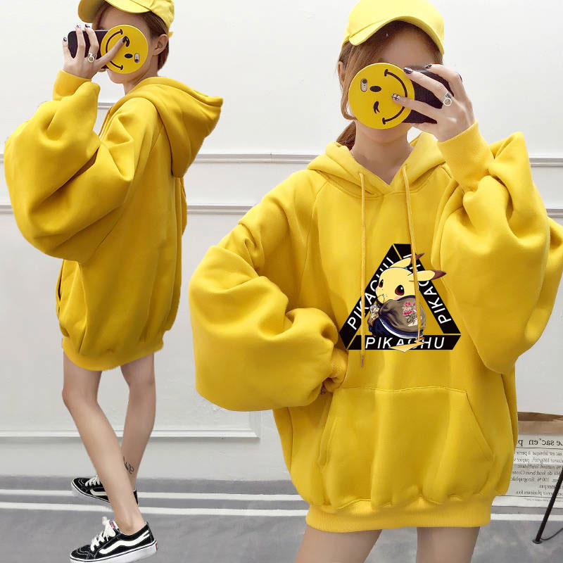 Pokemon Hoodies Women Men Cartoon Printed Pikachu Yellow Hoodie Kawaii Plus Velvet Sweatshirt Pullover Streetwear Kpop Clothes