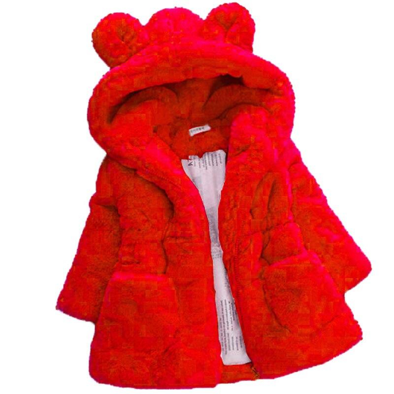 2-7Yrs Winter Baby Girls Faux Fur Princess Coat Fleece Warm Kids Jacket Snowsuit 1 Piece Baby Girl Hooded Outerwear Kids Clothes