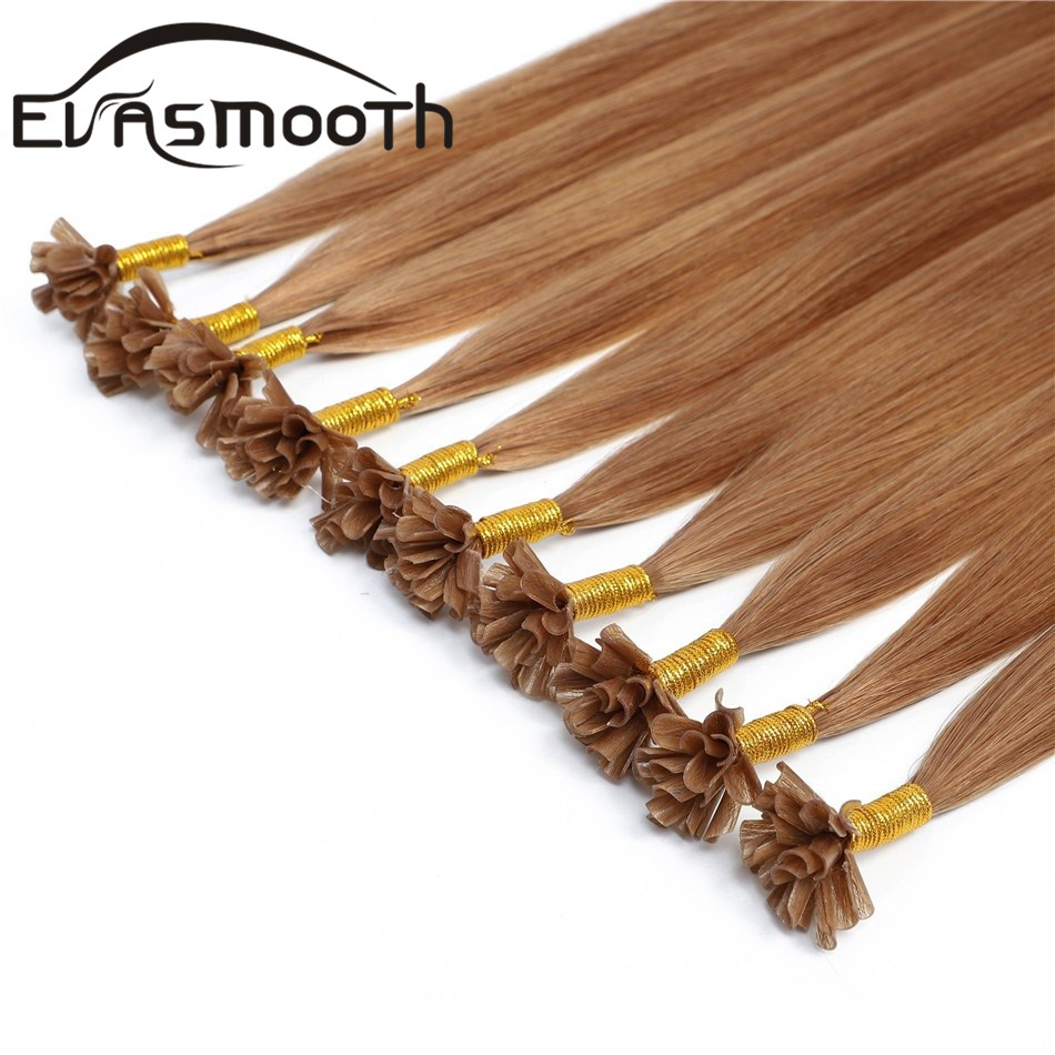 Evasmooth 0.8g Italian Keratin Fusion Pre Bonded Nail U Tip Cuticles Aligned Natural Real Russian Remy Human Hair Extensions