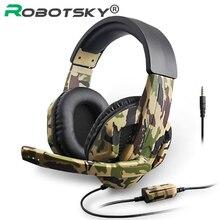 חדש 3.5mm הסוואה משחקי אוזניות גיימר מקצועי סטריאו רכוב ראש אוזניות מחשב אוזניות עבור PS4 PS3 Xbox מתג