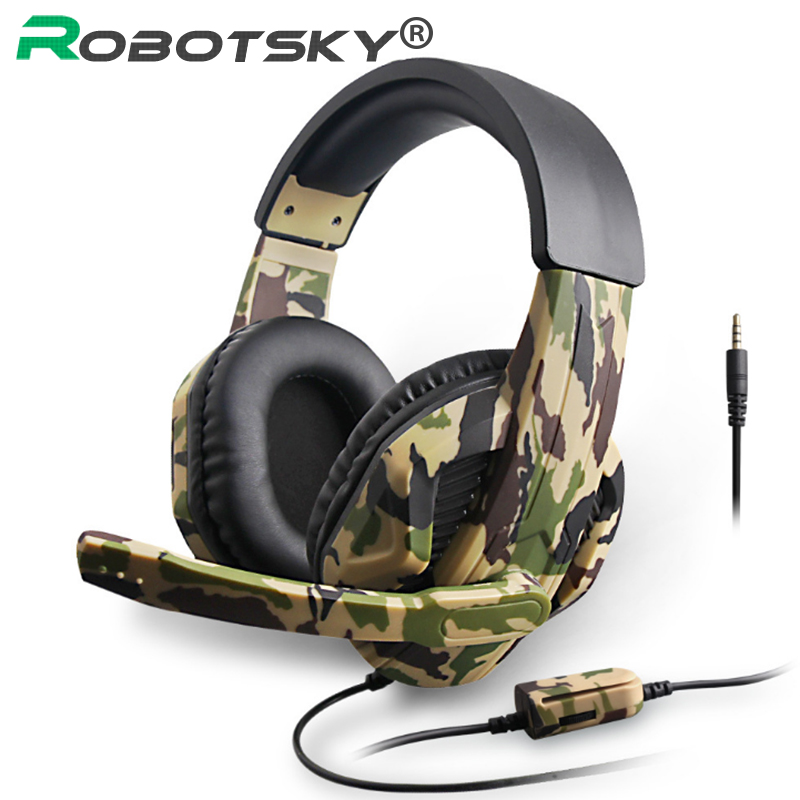 New 3 5mm Camouflage Gaming Headset Professional Gamer Stereo Head-mounted Headphone Computer Earphones for PS4 PS3 Xbox Switch