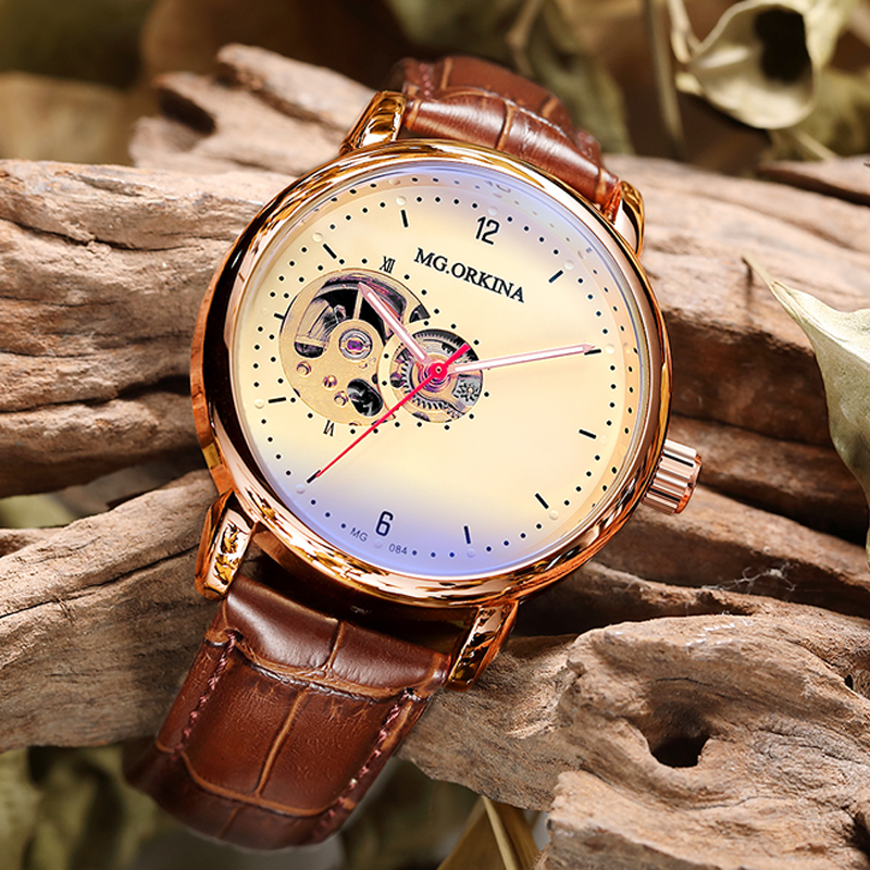 Mens Watches Mechanical-Wristwatches Skeleton Automatic Vintage Relogio Masculino  title=