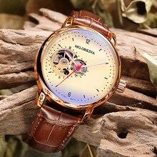 Relogio Masculino ขายร้อน Mens นาฬิกา Vintage Skeleton Automatic นาฬิกาหนังนาฬิกาข้อมือนาฬิกาข้อมือสำหรับชาย