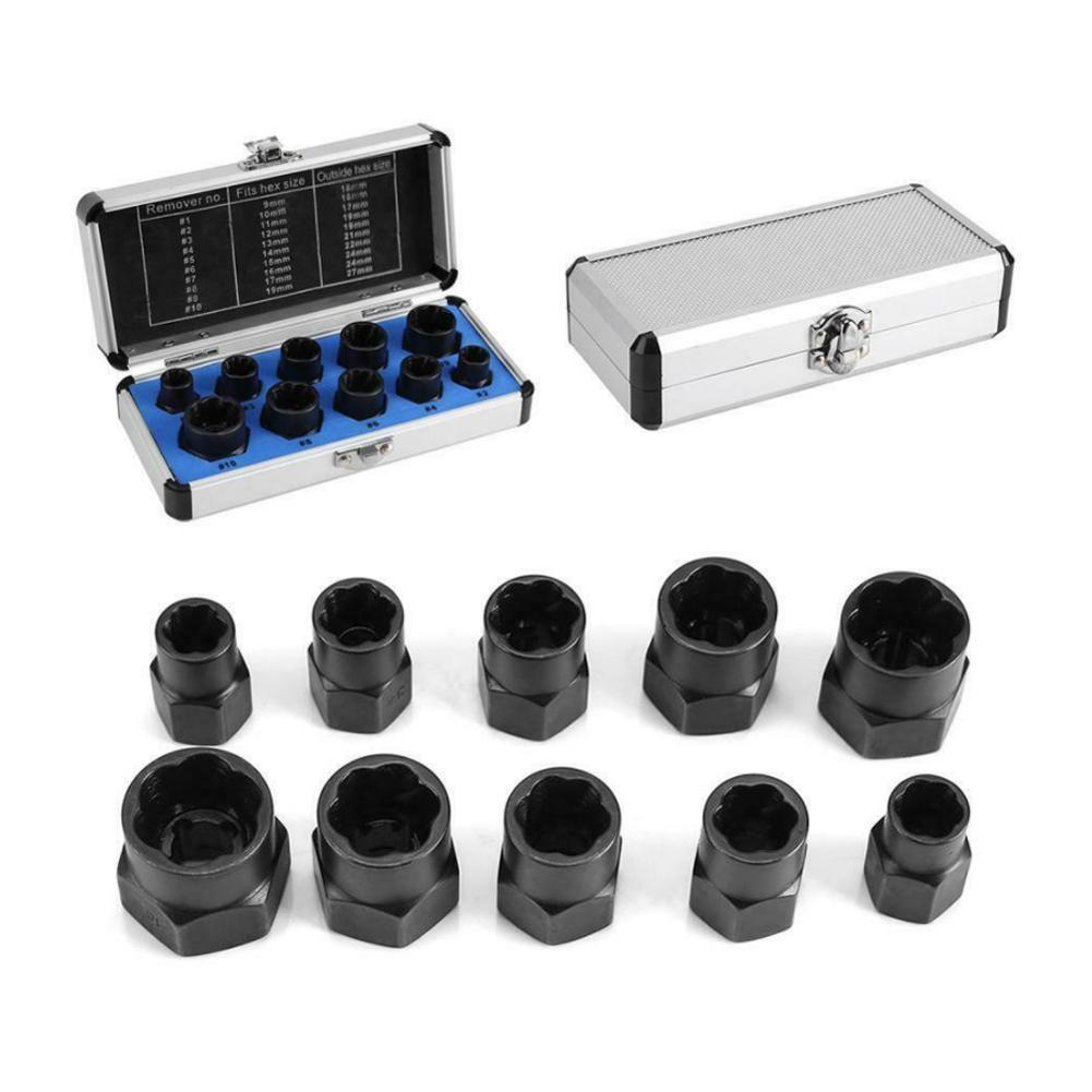 9-19mm Alloy Steel Nut Removal Tools Removal Damaged Nuts Rounded Studs Broken Nut Non-slip Removal Kit Bolts Tools Bolts S Z8O6