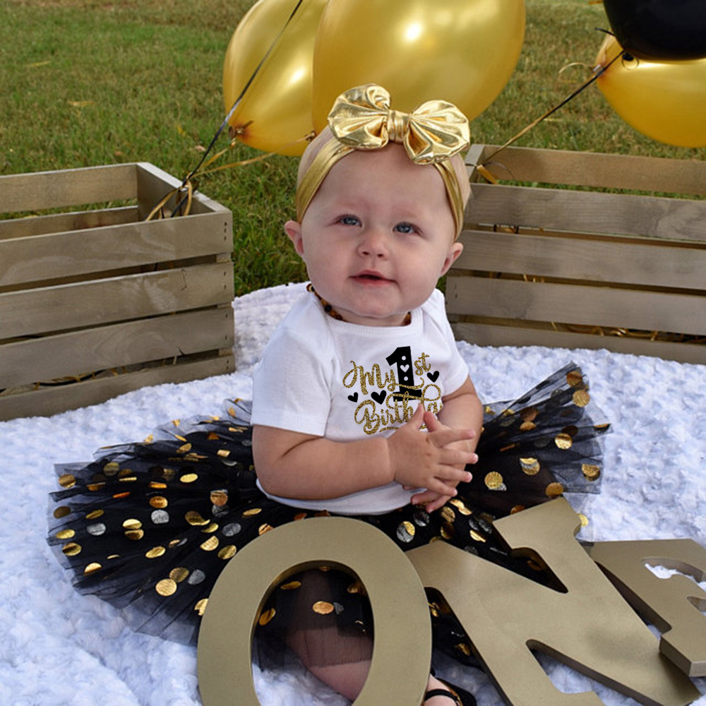 Baby Girls 1st Birthday Girls 2ndt Birthday Tutu Black Gold Cake Smash Outfit Young Wild and Two Birthday Party Princess Wear 1