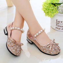 Princess shoes girl crystal shoes summer middle school children s soft sole single shoes high heels birthday present