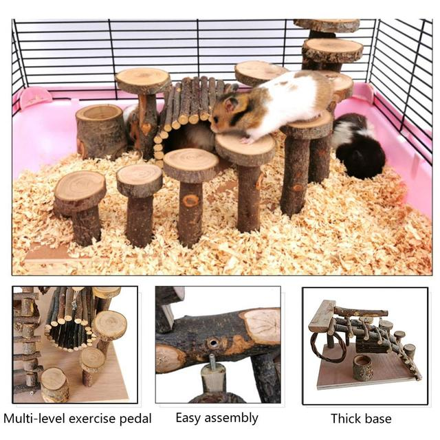 Apple wood Hamster Toy Ladder Small Pet Stairs Step Fitness Exercise Toy Hammock Playground Pet Feeder for Small Pet 4
