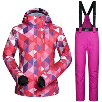 Winter Outdoor Ski Suit Brands Women Windproof Waterproof Mountain Ski Jacket Pants Sport Snow Sets Skiing & Snowboarding Suits