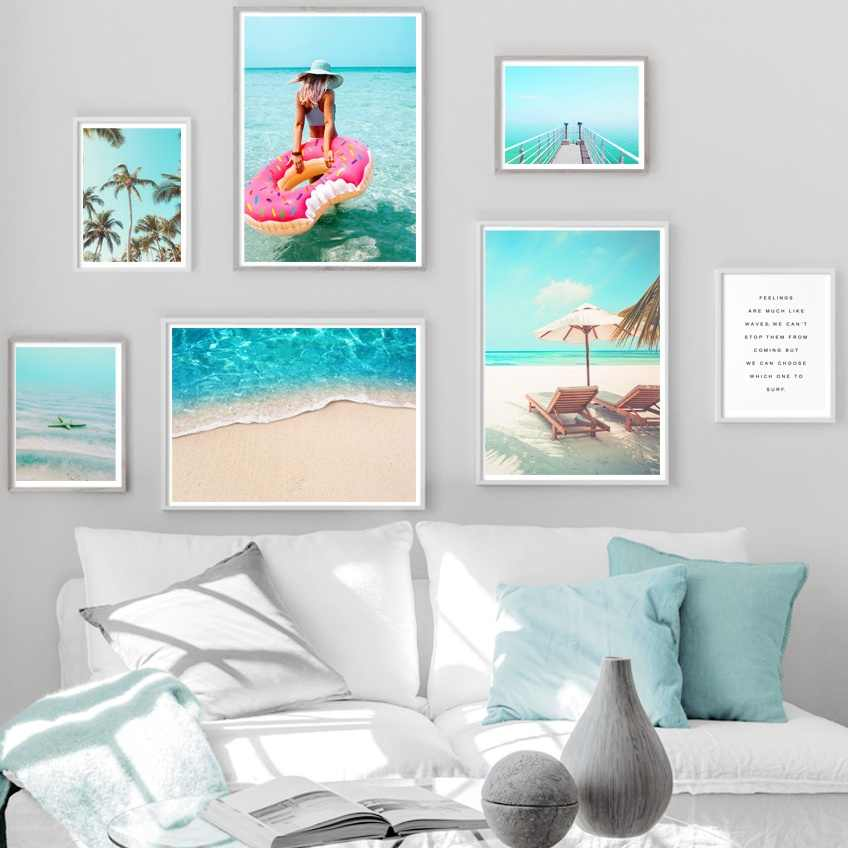 Beach Palm Tree Bridge Wall Art Canvas Painting Nordic Posters And Prints Wall Pictures For Living Room Scandinavian Home Decor