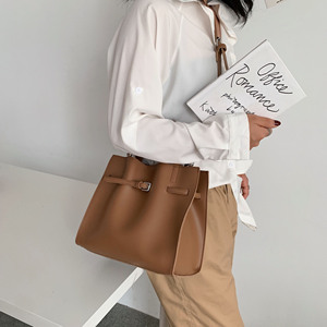 Image 2 - Solid Color Pu Leather Shoulder Bags For Women 2020 Fall High Capacity Handbags and Purses Belt Design Lady Travel Hand Bag